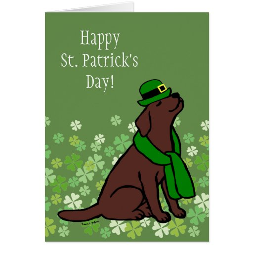 St. Patrick's Day Stylish Chocolate Labrador Card