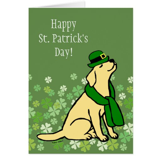 St. Patrick's Day Stylish Yellow Labrador Card