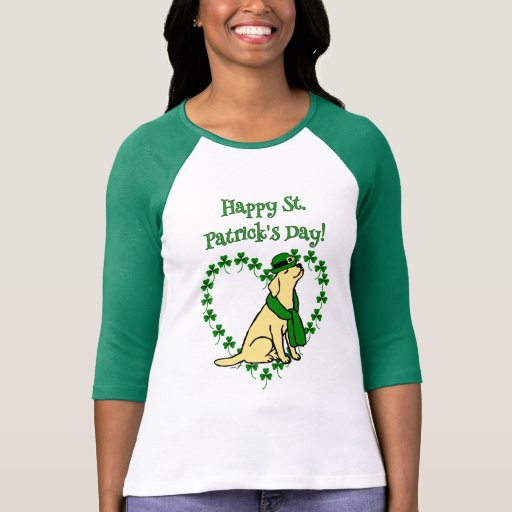 St. Patrick's Day Stylish Yellow Labrador Heart T-Shirt