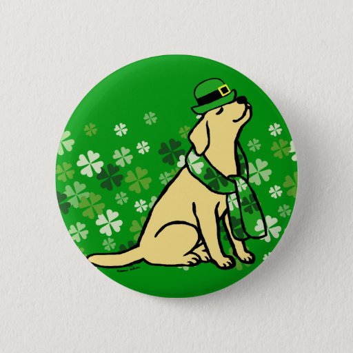 St. Patrick's Day Stylish Yellow Labrador Pinback Button