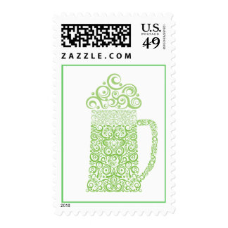 St. Patrick's Day Stylized Green Beer Mug Postage