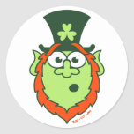 St Patrick's Day Surprised Leprechaun Classic Round Sticker