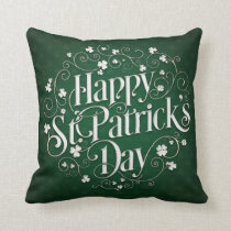 St. Patrick's Day - Swirled Word Art Throw Pillow