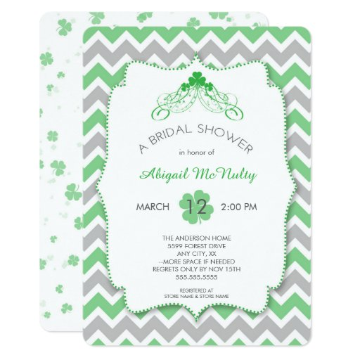 St Patrick's Day theme Bridal Shower, clovers Card