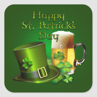 St. Patrick's Day - Top Hat, Beer and Shamrocks Square Sticker