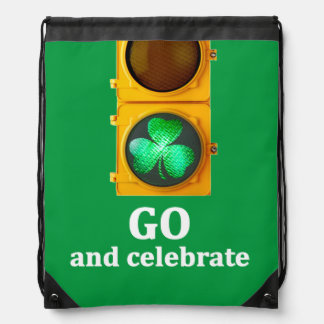 "St. Patricks Day traffic light ""GO and celebrate"", Drawstring Backpack"