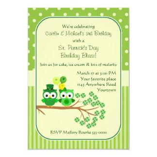 St. Patrick's Day Twins Birthday Owl Card