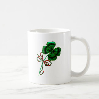 St. Patrick's Day Vintage Lucky 4 Leaf Clover Classic White Coffee Mug