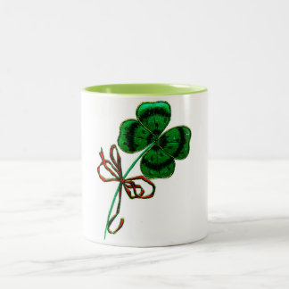 St. Patrick's Day Vintage Lucky 4 Leaf Clover Two-Tone Coffee Mug