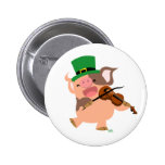 St Patrick's Day violinist pig button badge