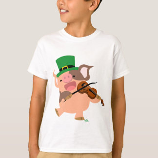 St Patrick's Day violinist pig Children T-shirt