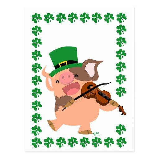St Patrick's Day violinist pig postcard