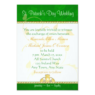St. Patrick's Day Wedding Invitation  Claddaugh