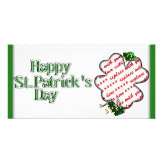 St Patrick's Day White Shamrock Photo Frame Photo Cards