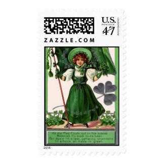 St Patricks Day - Woman & Shamrocks Postage