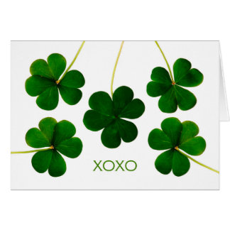 St. Patrick's Day, XOXO Lucky Shamrocks Photograph Card