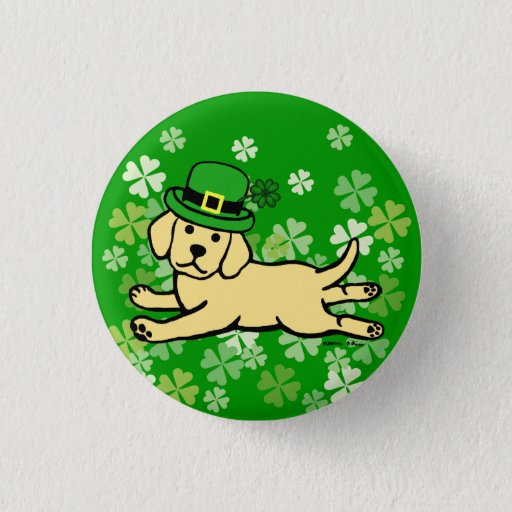 St. Patrick's Day Yellow Lab Baby Button