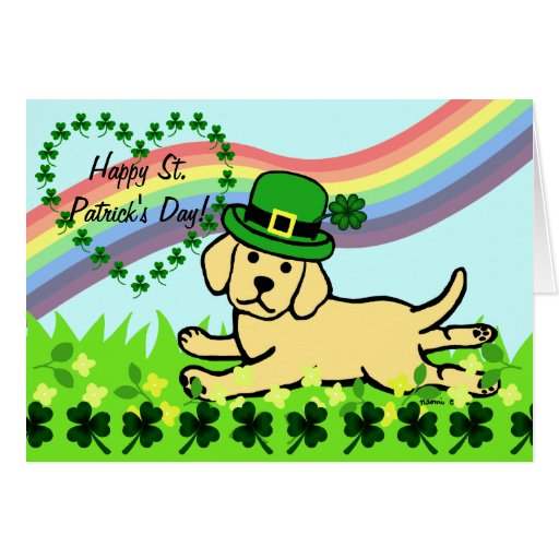 St. Patrick's Day Yellow Lab Baby Card