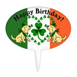 St. Patrick's Day Yellow Lab Birthday Cake Topper