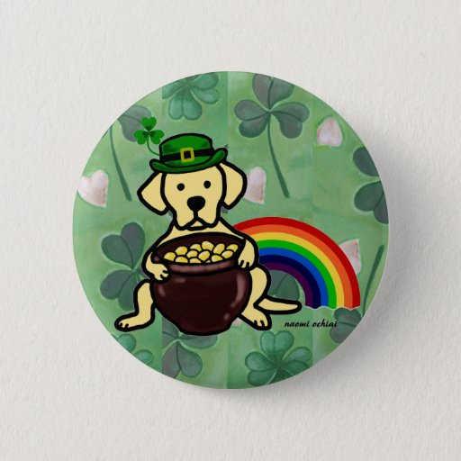 St. Patrick's Day Yellow Lab Rainbow Button