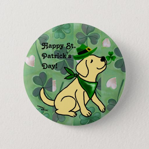 St. Patrick's Day Yellow Labrador Button