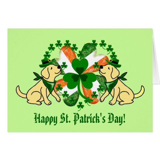 St. Patrick's Day Yellow Labrador Card