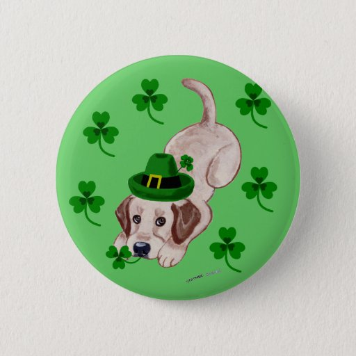 St. Patrick's Day Yellow Labrador Puppy Button