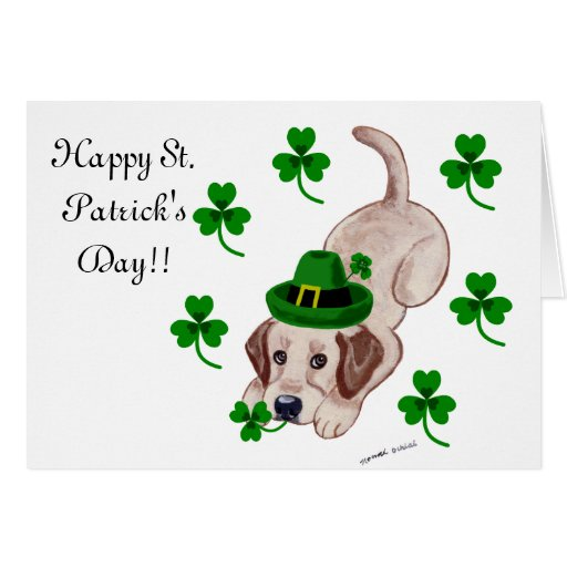 St. Patrick's Day Yellow Labrador Puppy Card