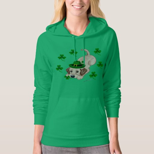 St. Patrick's Day Yellow Labrador Puppy Hoodie