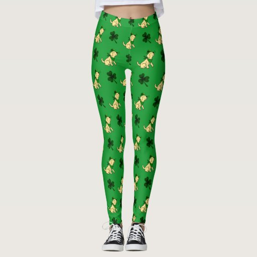 St. Patrick's Day Yellow Labrador Puppy Leggings