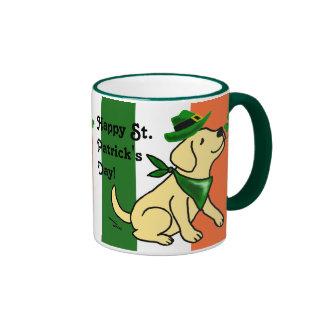 St. Patrick's Day Yellow Labrador Ringer Coffee Mug