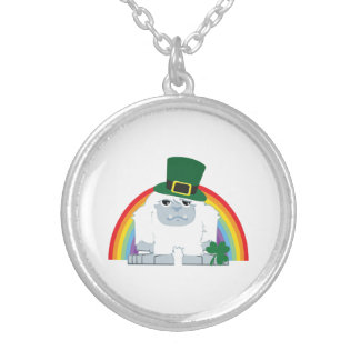 St. Patrick's day Yeti Silver Plated Necklace