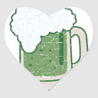 st patricks distressed green beer heart sticker
