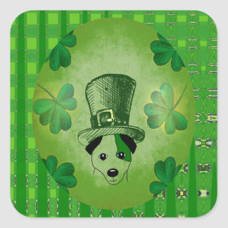 St. Patrick's Dog with Shamrocks Drawing Stickers