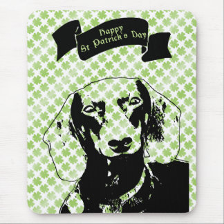 St Patricks Doxie Silhouette - Winston Mouse Pad