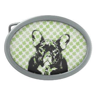 St Patricks French Bulldog Silhouette Belt Buckle