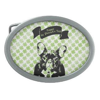 St Patricks French Bulldog Silhouette Oval Belt Buckle