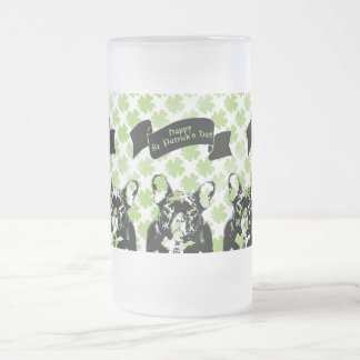 St Patricks French Bulldog Silhouette Frosted Beer Mugs