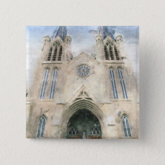 St Patrick's Gothic Revival Church Art Pinback Button