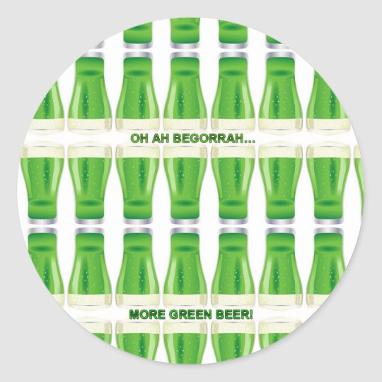 St. Patrick's Green Beer Pattern Classic Round Sticker