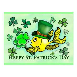 St Patrick's Green Shamrocks lucky irish goldfish Postcard