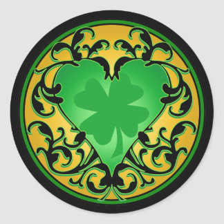 St. Patrick's Heart Lucky Charm Classic Round Sticker