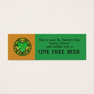St. Patrick's Heart Lucky Charm Mini Business Card