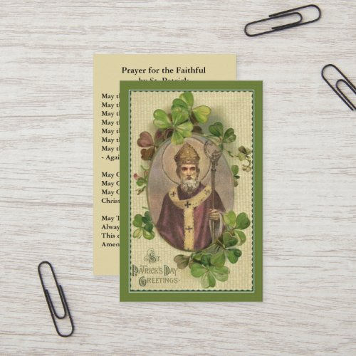 St. Patrick's  Holy Card Shamrocks Bishop