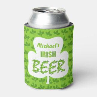 St Patricks Irish Beer Personalized Shamrock Green Can Cooler