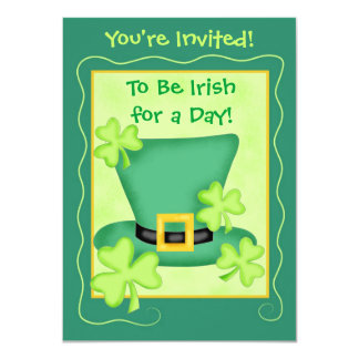 """St. Patrick's Irish for a Day Party 4.5"""" X 6.25"""" Invitation Card"""