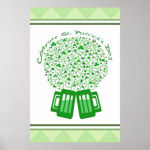 St. Patrick's Irish Green Beer Mugs Poster / Print