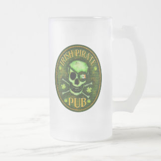 St. Patrick's  Irish Pirate Pub BeerMug / Stein 16 Oz Frosted Glass Beer Mug