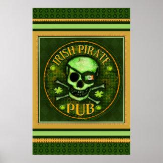 St Patrick's Irish Pirate Pub Skull Poster / Print