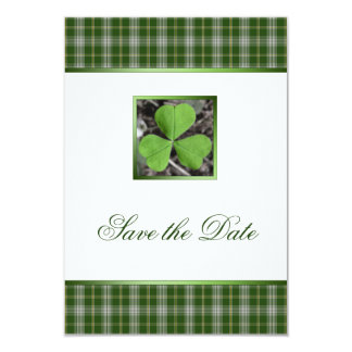 St Patricks Irish Tartan & Shamrock Save the Date Card
